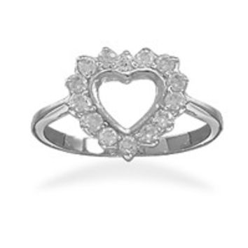 Rhodium Plated Cut Out Cubic Zirconia Heart Ring