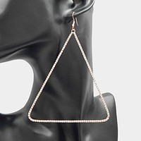 "3.25"" x 4.25"" clear crystal triangle large pierced earrings"