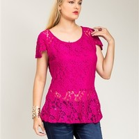 Poshed Apparel — Plus Size Fuchsia Lace Peplum Top