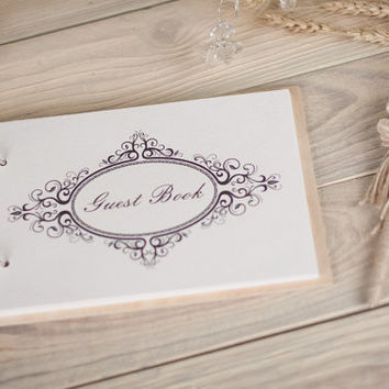 Wood Wedding Guestbook, Rustic Wedding Guestbook, Customized,