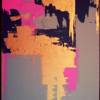 FREE SHIPPING Pink, navy, gray, and metallic ORIGINAL abstract painting on stretched canvas