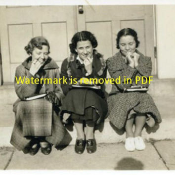 Vintage Photo of Girls After School Digital Download - Old Clip Art for Graphic Design, Scrapbook