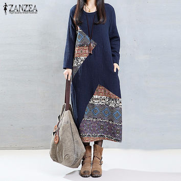 ZANZEA Women 2017 Autumn Vintage Print Patchwork Dress O Neck Long Sleeve Casual Loose Maxi Long Dresses Plus Size Vestidos