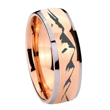 8MM Rose Gold Dome Sound Wave I love you 2 Tone Tungsten Carbide Laser Engraved Ring