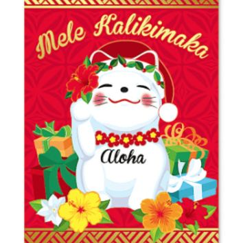 """Christmas Cards 12-pack """"Holiday Lucky Cat"""""""