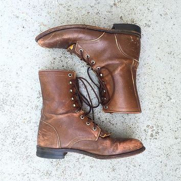 Vintage Dark Brown Pebbled Leather Lace Up Justin Boots Size 7.5B