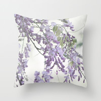 Wisteria Lavender Throw Pillow by Lisa Argyropoulos