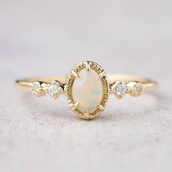 14k gold genuine Australian Opal ring, Opal engagement ring, white gold, rose gold, unique, alternative engagement ring, unique engagement