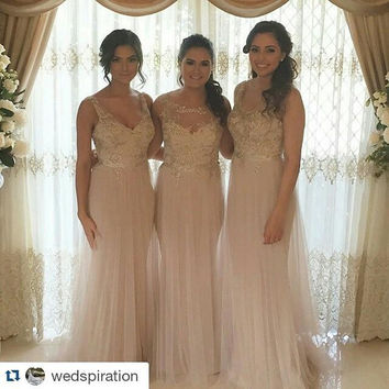 New Arrival 2016 Long Mermaid Bridesmaid Dresses Pretty Tulle with Lace Beaded Wedding Party Gowns Maid of Honor Dress BR87