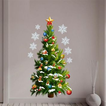 Christmas Tree Wall Sticker Decals Snowflake Store Window Glass Poster Mural Wall Art Christmas Tree Decorations