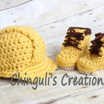 Hard Hat Helmet Crochet Hard Hat Helmet Newborn Helmet Baby Hard Hat and Boots Set Construction Outfit