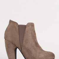 Suede Round Toe Chunky Heel Chelsea Bootie