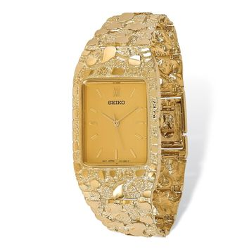 14k Yellow Gold Mens Squared Champagne 27x47mm Dial Solid Nugget Watch
