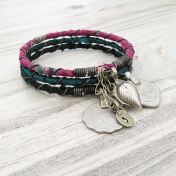 Silk Road 3 Piece Bangle Stack, Sari Silk Wrapped, Stacking Bracelets, Tribal Gypsy Bangles, Berry, Teal, Black