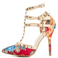 Studded Floral T-Strap Pumps by Charlotte Russe - Fuchsia