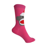Sock Monkey Crew Socks in Fuchsia