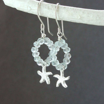 shop aquamarine starfish earrings on wanelo