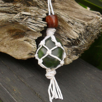 Macrame Hippie Necklace, Green Jade Pendant, Greenstone Necklace,  Natural Bohemian Jewelry, Hippie Pendant