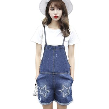 2017 Summer Embroidered Straps Denim Shorts Women Sweet Cute Preppy Style Overalls Straight Loose Student Cowboy Jeans Shorts