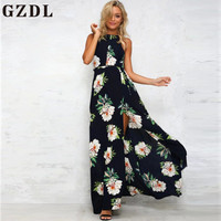 GZDL Boho Halter Backless Chiffon Split Long Maxi Dress Women Beach Summer Off Shoulder Sexy Floral Print Dresses Vestido CL3781