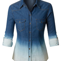 LE3NO Womens Distressed Washed Long Sleeve Button Down Denim Shirt Top