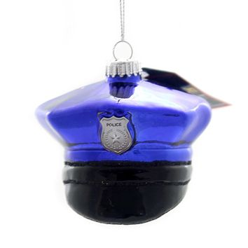 Holiday Ornaments POLICE OFFICER HAT Glass Law Enforcement 80016