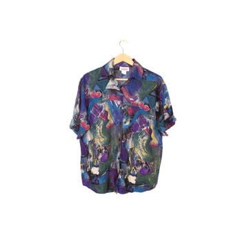 80s rayon paint brush stroke pattern shirt - vintage 1980s - art print - wild - colorful - womens large