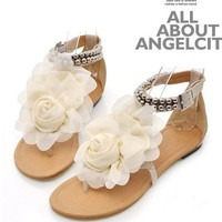 Beige Chiffon Flower Sandals