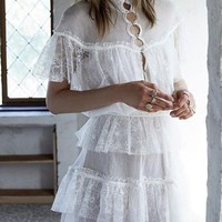 White Patchwork Ruffle Buttons Round Neck Sweet Mini Dress