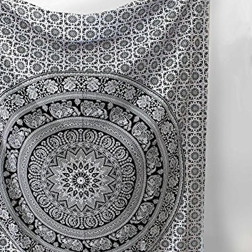 SheetKart Black and White Tapestry Elephant Mandala Hippie Indian Traditional Throw Beach Throw Wall Art College Dorm Bohemian Wall Hanging Boho Twin Small Bedspread