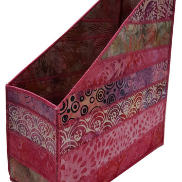 Home Storage Magazine Organizer in Pink Batik
