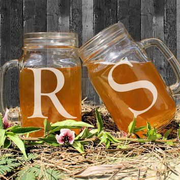 Couple Mason Jars Romantic Mson Jas Glass Mug Apply for Water Juice and Beverage Custom Initials Personalized Mason Jars Bulk