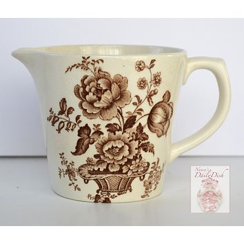 18 oz Brown English Transferware Ironstone Measuring Pitcher Charlotte Floral Toile Roses