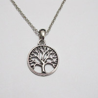 Antique Silver Tree Necklace Tree of Life--Antique Silver Copper Chain