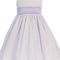 Lilac Cotton Seersucker Dress w Poly Silk Sash (Baby 6 months - Girls Size 12)