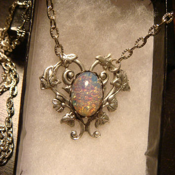 Fire Opal Heart Vine Necklace in Antique Silver - Great Valentines Day Gift (1570)