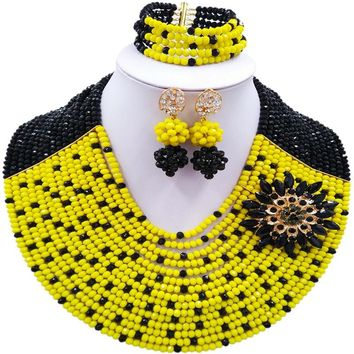 ACZUV Black and Yellow African Costume Jewelry Set Nigerian Beads Bridal Party Jewelry Sets 15C-012