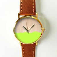 Paint on Wood Watch , Leather Watch, Women Watches, Boyfriend Watch, Men's Watch, Vintage Style Watch, Silver Gold Rose, Apple green
