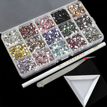 3000pcs 3mm Multicolor Loose Rhinestones Beads Flat Back with DIY Kits Tools Rhinestone Pick up Pencil, tweezers and case