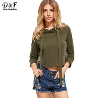 Dotfashion Womens Sweatshirt Long Sleeve Winter Top Fall Womans Streetwear Clothes Olive Green Curved Hem Crop Hoodie Sweatshirt