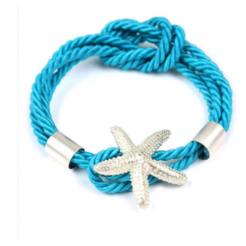"""""""Sea Life"""" Silver Starfish Blue Knotted Rope Bracelet"""