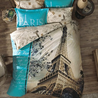 4pcs Paris Eiffel Tower QUEEN Double Bedding Quilt –Duvet Cover set Pillow case