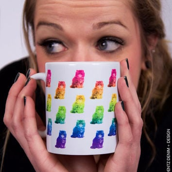 Rainbow Cat Mug - 11 oz. Coffee and Tea Mug - 15 oz. Coffee and Tea Mug - Printed on Both Sides - Home Decor - Gift Idea