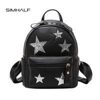 SIMHALF Fashion Women backpack High quality leather Pu backpack female of the small fresh five-pointed star solid color backpack