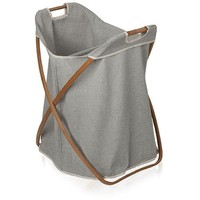 MV Bamboo With Canvas Foldable Split Hamper Laundry Basket With Carry Handles