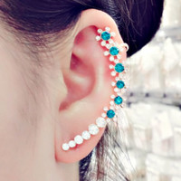 Turquoise Floral Ear Cuff