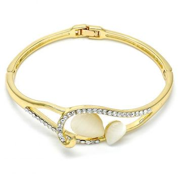Gold Layered Individual Bangle, Teardrop Design, with Opal and Crystal, Golden Tone