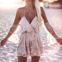 VONE5YD Sexy V-neck Backless Rompers