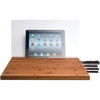 Cta Ipad Air And Ipad With Retina Display And Ipad 3rd Gen And Ipad 2 And Ipad Mini And Tablet & Knife Storage Bamboo Cutting Board With Screen Shield