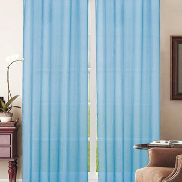 Simple Elegance New York Sheer Window Curtain with 8 Metal Grommets, Turquoise